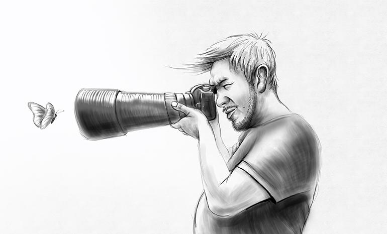 Черно-белый цифровой шарж на фотографа