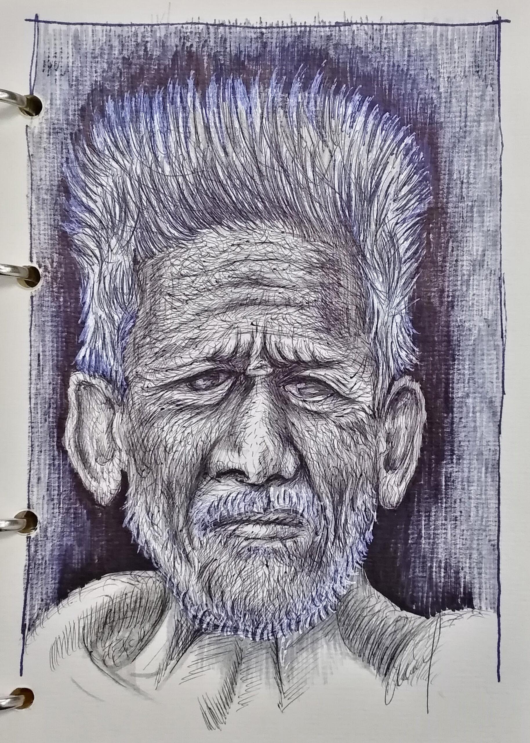 Мужской портрет шариковой ручкой